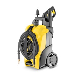 Yellow Black Electric High Pressure Washer Isolated on White. Power Washing Machine. Outdoor Power Equipment. House Cleaning Tool. Domestic Major Appliances. Home Appliance. Pressurized Water Jet