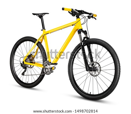 Photo of  yellow black 29er mountainbike with thick offroad tyres. bicycle mtb cross country aluminum, cycling sport transport concept isolated on white background