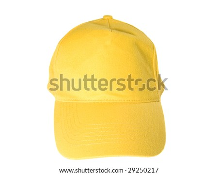 Yellow Blank Baseball Cap on white ground
