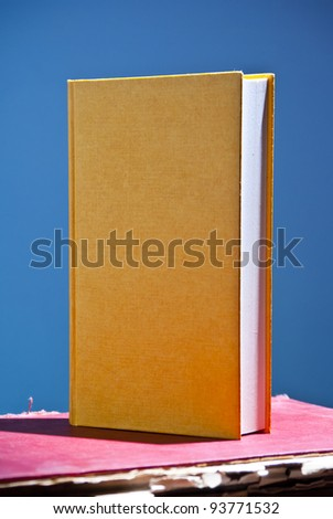 Yellow blank book in upright position