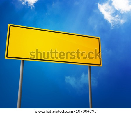 Yellow Blank Road Sign - stock photo