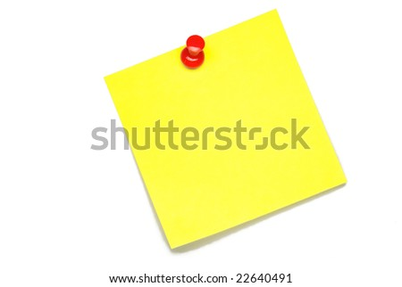 yellow blank sticky note isolated on white