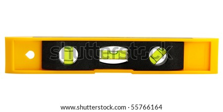 yellow block level with bubble isolated on white, clipping path included