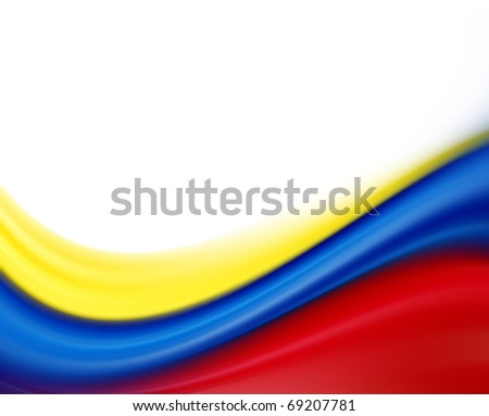 Yellow, blue and red flag on white background - stock photo