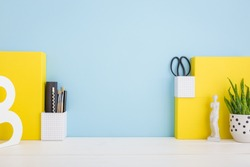 Yellow, blue desk Mock up.
