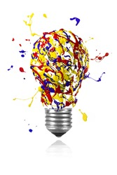 Yellow blue red paint splash made conceptual light bulb