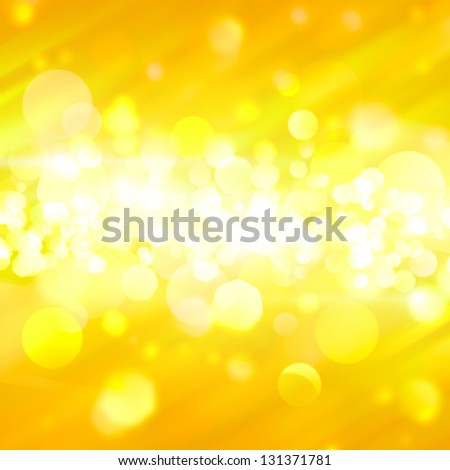 Yellow bokeh abstract background with rays