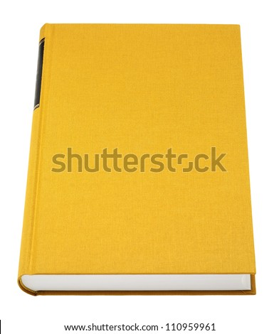 Yellow book isolated on white, black frame for title on the spine, fabric cover