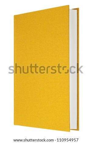 Yellow book isolated on white, fabric cover