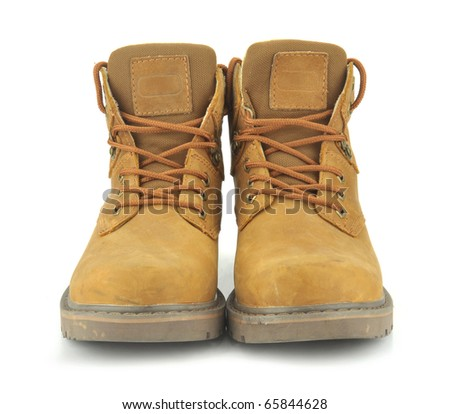 yellow boots isolated on white