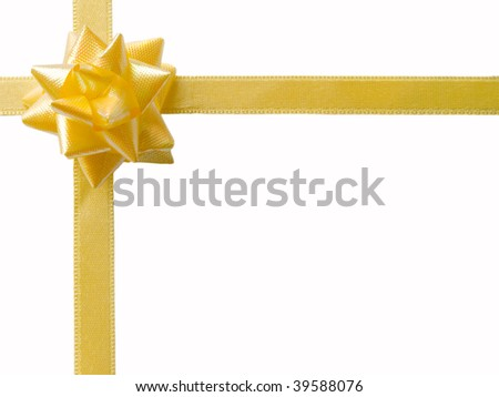 yellow bow with sateen tape isolated on white