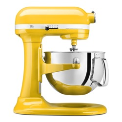 Yellow Bowl-Lift Stand Mixer Isolated on White. Small Electric Kitchen Appliances. Modern Kitchen Device Accessory. Side View Multi-Task Blender. 10 Speeds 600Wt Countertop Food Processor