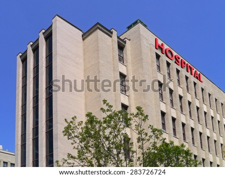 yellow brick hospital building