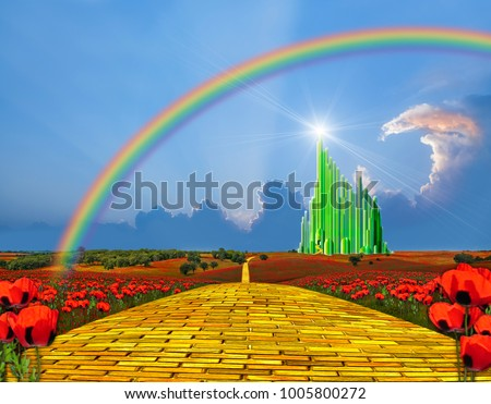 Yellow brick road leading into the Emerald City
