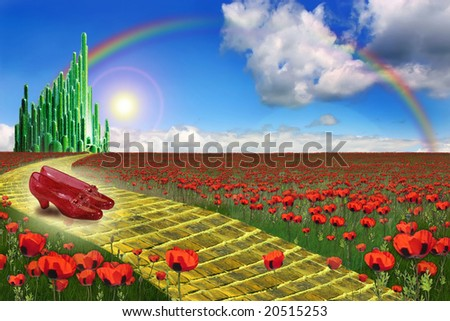 Yellow brick road leading to the Emerald City in the land of Oz with a pair of ruby slippers in the foreground.