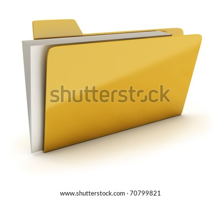 Yellow brilliant folder with documents. 3d image. Isolated white background.
