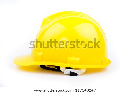 yellow builder hardhat isolated on white