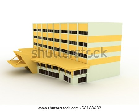 yellow building - stock photo