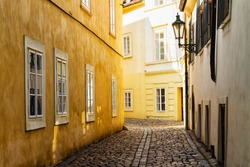 Yellow building in the old Jewish Quarter in Prague city centre, Czech Republic