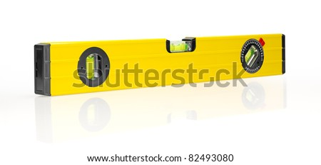 Yellow building level, isolated on a white background.
