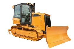 Yellow Bulldozer excavator, isolated on white background with clipping path