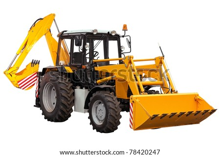 Yellow bulldozer-excavator on white background