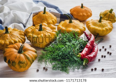Yellow bush pumpkins, hot chilli peppers, dill bunch and whole dried allspice on white wooden table in the morning light. Ingredients for pickling #1171713178