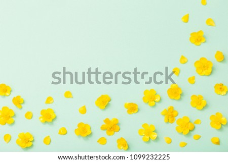 yellow buttercups on green paper background