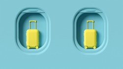 Yellow cabin luggage on blue airplane windows, travel conceptual background, minimalist pastel colors. Baggage set, contrast colorful bag, flying destination journey concept. Luggage background.