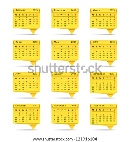 Yellow calendar for 2013  year, origami style