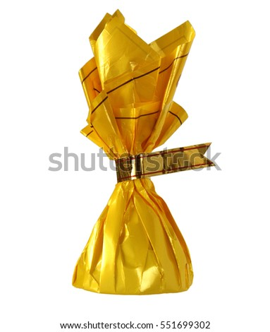 Yellow Candy Wrapper With Blank Label Isolated On White Background 551699302