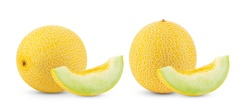 yellow cantaloupe melon isolated on white background. full depth of field