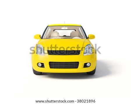 yellow car on isolated background