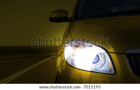 Yellow car on the road