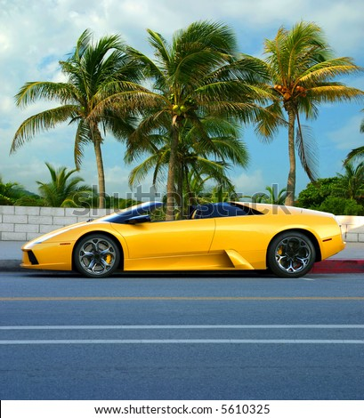 Yellow car on tropical island
