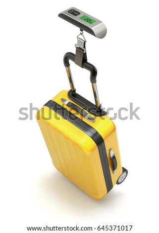Yellow case on digital electronic luggage weight scale - 3D illustration