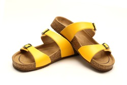 Yellow Casual Style leather Sandal with white background and copy space for text and logo
