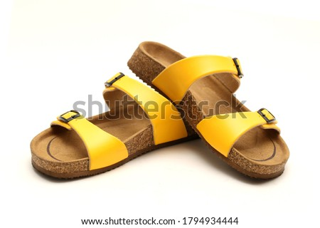 Photo of  Yellow Casual Style leather Sandal with white background and copy space for text and logo