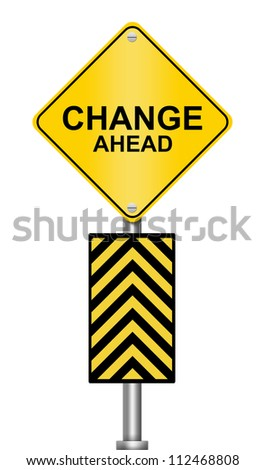 Yellow Caution Road Sign With Change Ahead Isolated on White Background