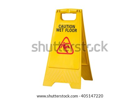 Yellow Caution slippery wet floor sign isolated on white background #405147220