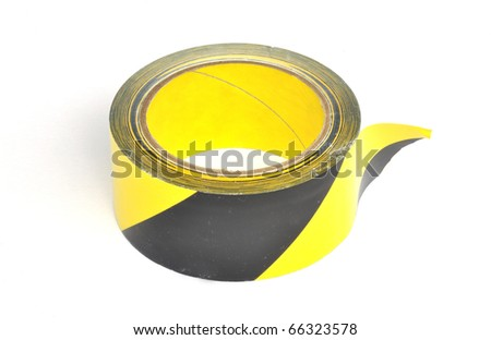 Yellow caution tape on white background