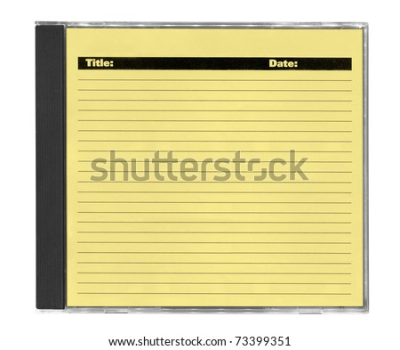yellow cd cover with space for your notes, isolated on white