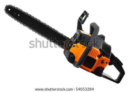 Yellow Chainsaw isolated on white background.