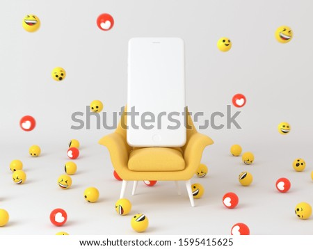 Yellow chair and old white phone  on isolated white background. Minimal abstract wallpaper concept. Flat lay. 3d render