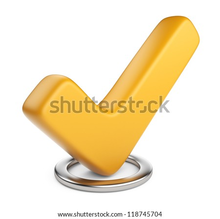 Yellow check mark. 3D Icon isolated on white background