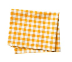 Yellow checkered folded cloth isolated,gingham checked kitchen towel,picnic decoration element.