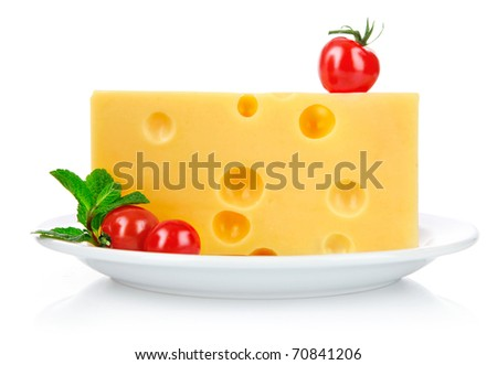 yellow cheese in plate with tomato and green leaf isolated on white background