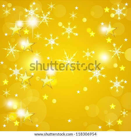 Yellow Christmas background with golden stars and snowflakes