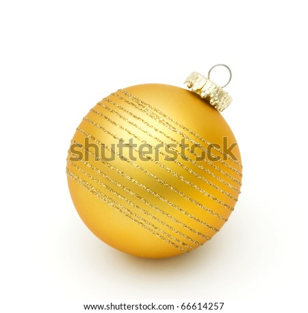 yellow christmas ball on white
