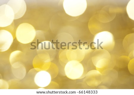 Yellow christmas lights as background - stock photo